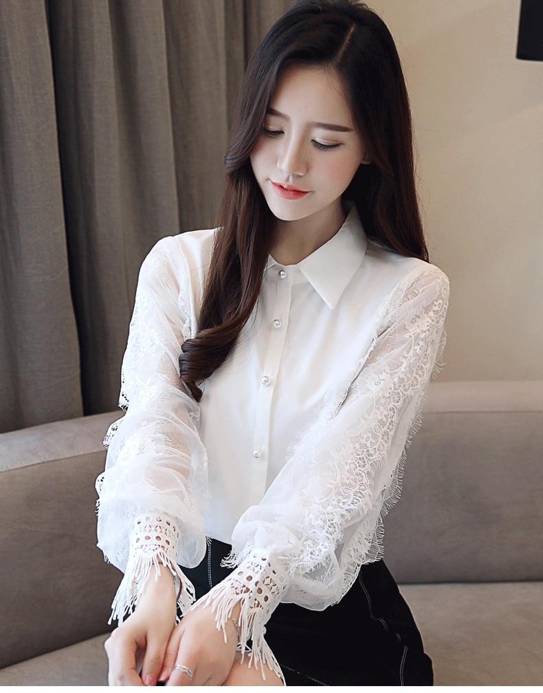 Fashion Women tops and Blouses 2019 Long Sleeve Shirt Women Chiffon Blouse Shirt Solid White OL Blouse top female Blusas 1145 40