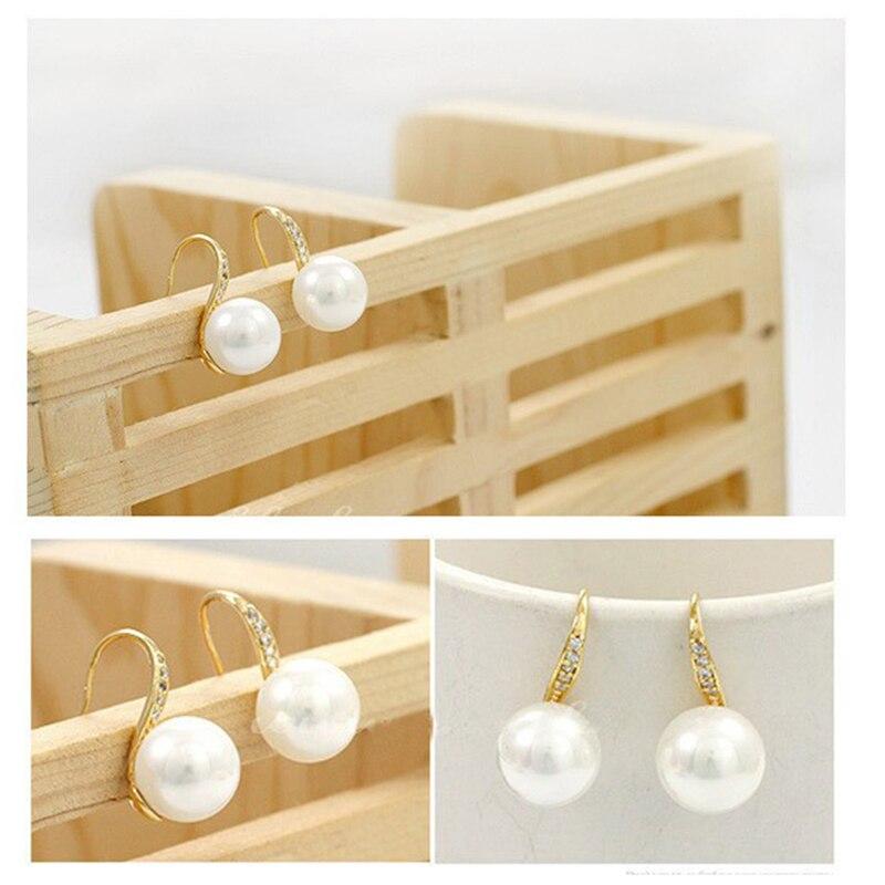 Neue Design Einfache Simulierte Perle Ohr Schmuck Gold-farbe Ohrringe Für Frauen Hohe Qualität Kristall Ohrring Kostenloser Versand Rohstoffe Sind Ohne EinschräNkung VerfüGbar