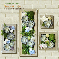2018 Retro styled old simulation of succulent plants wall decorations,hand made original wooden flower pots+succulent plants