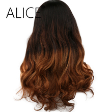 "ALICE Pre Plucked Full Lace Human Hair Wigs For Black Women 10-24"" Remy Hair Glueless Brazilian Ombre Lace Wig Bleached Knots"