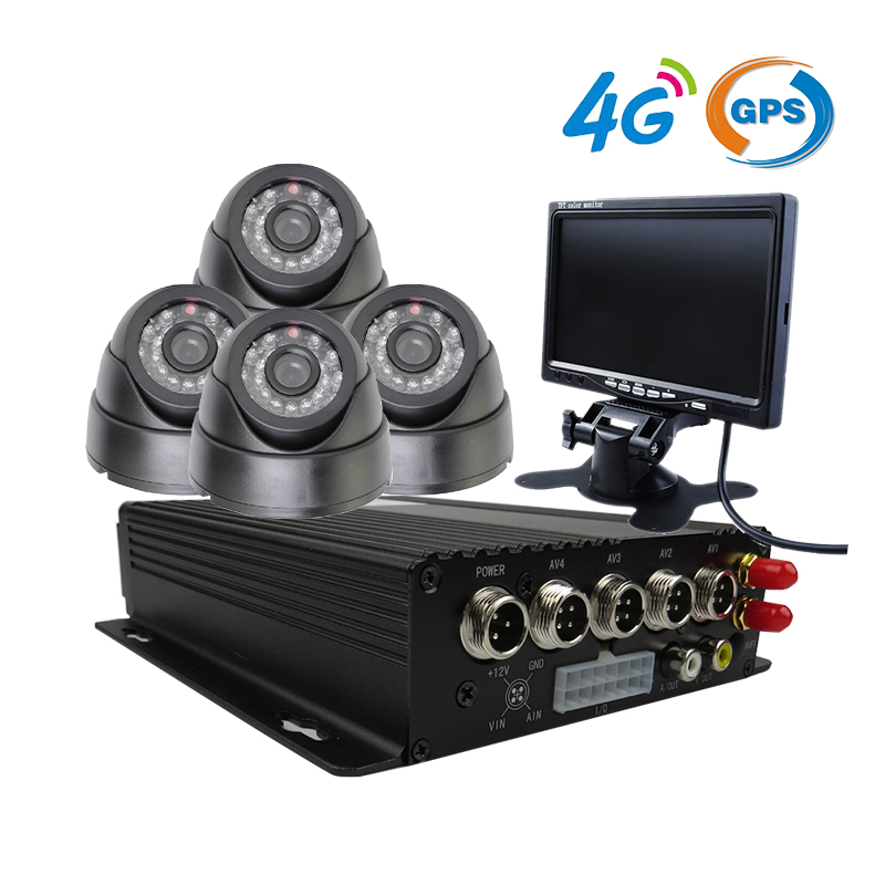Free Shipping CCTV Security 4CH Car DVR Kit 4G GPS Mobile DVR Real-time Remote PC Phone Monitor + 4 x Incar Camera + Car Monitor free shipping 4 ch 4g gps vehicle car dvr kit h 264 g sensor mobile dvr pc phone real time view duty cctv camera for car truck