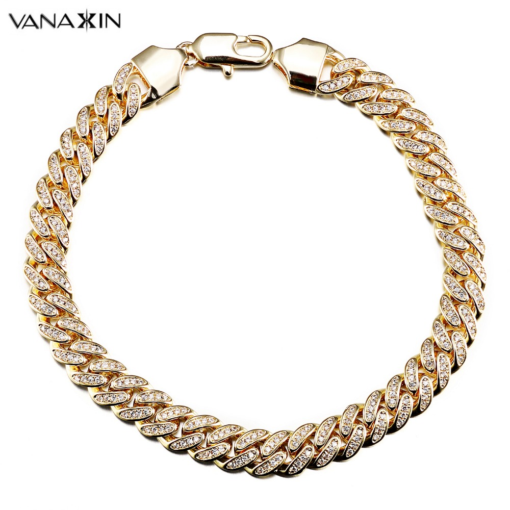 VANAXIN Hip Hop Bracelet CZ Paved Iced Out High Quality Bracelets Men Rock Jewelry Gold/Silver Color Chain CZ Crystal Jewelry