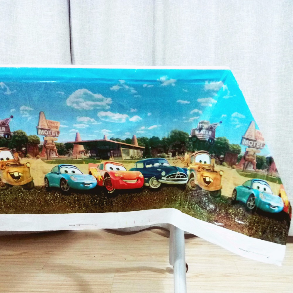 108*180cm Lightning Mcqueen Birthday Party Decoration Disposal Cartoon Theme Party Table Cloth Kids Favor Party Supplies Set