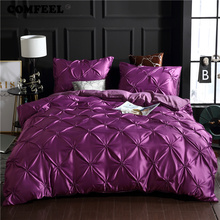 hot deal buy comfeel luxury bedding set pinch pleat flower silk cotton duvet cover with pillowcase queen king size bedclothes 2/3pcs bed set
