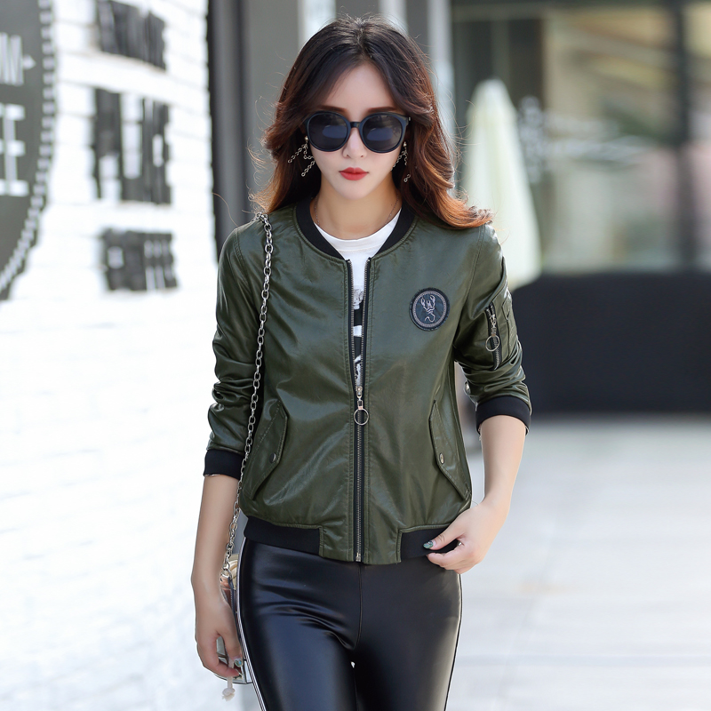 M-5XL Leather Jacket Women Coat Female Fashion Casual Solid Stand Collar Women's Leather Jacket Baseball Clothing Black/Green