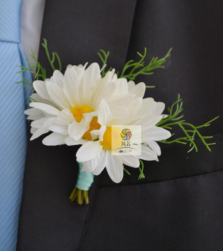 Top Quality Brand New 5Pcs/Set Best Man Groom Boutonniere Silk Daisy Flower Wedding Groomsman Corsage Party Prom Man Suit Brooch