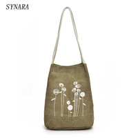 Spring And Summer Shoulder Bag Canvas Women Handbags Bucket Ladies Hand Bags Casual Big Female Floral