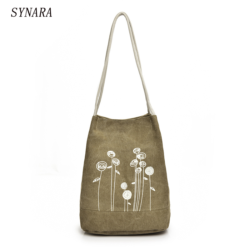 Spring And Summer Shoulder Bag Canvas Women Handbags Bucket Ladies Hand Bags Casual Big Female Floral Tote Bag For Ipad Bolsos japanese pouch small hand carry green canvas heat preservation lunch box bag for men and women shopping mama bag