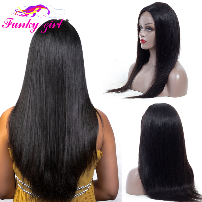 Funky Girl 4x4 Lace Front Human Hair Wigs Pre Plucked With Baby Hair Brazilian Wig Straight