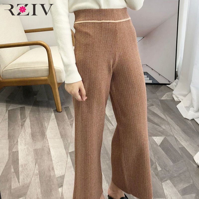 RZIV 2018 Autumn Women's   Pants   Casual Striped High Waist Knit   Wide     Leg     Pants