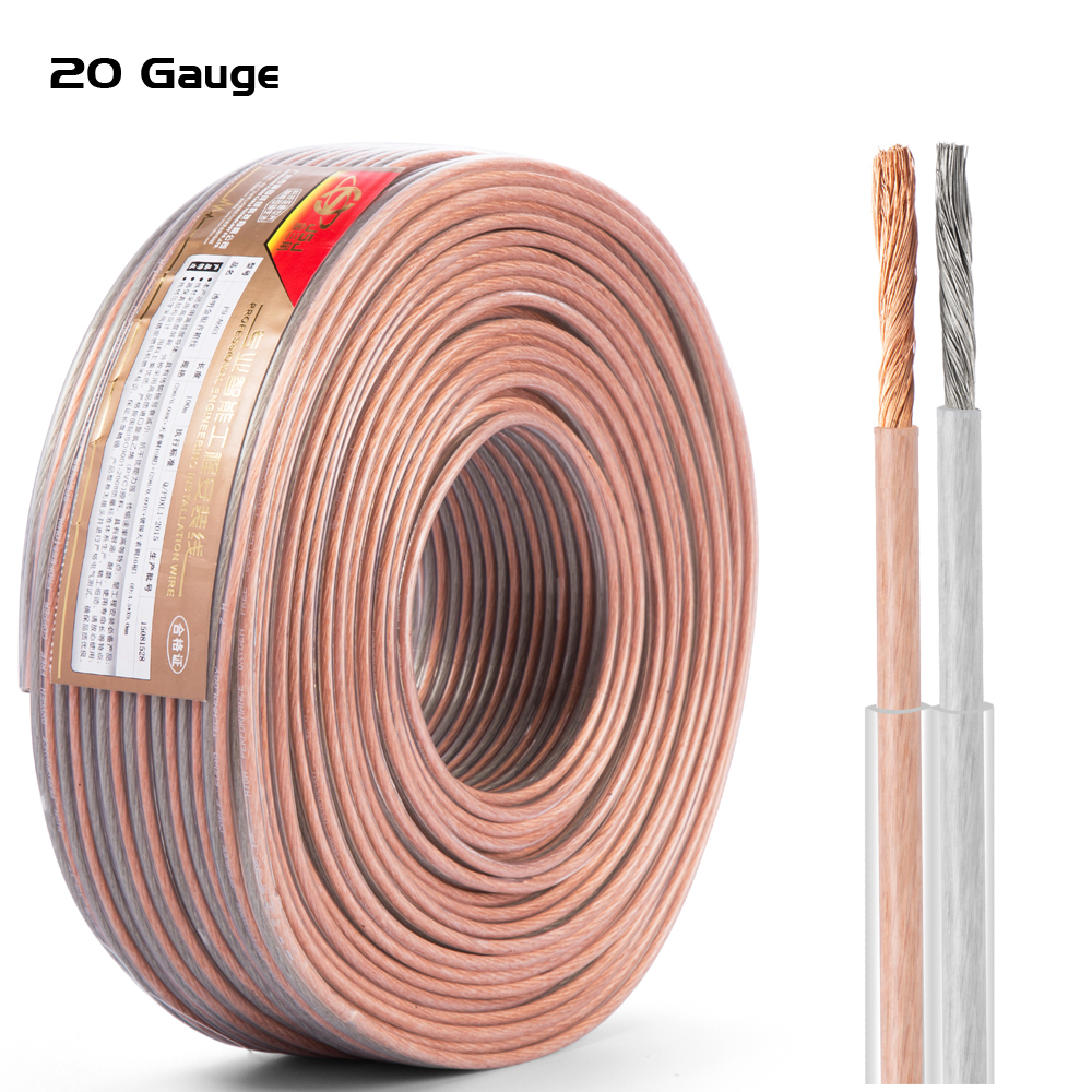 Hifi Speaker Cable Transparent OFC Bare Copper 20 Gauge For Home Theater High End Speaker DJ System KTV Car Audio Wire