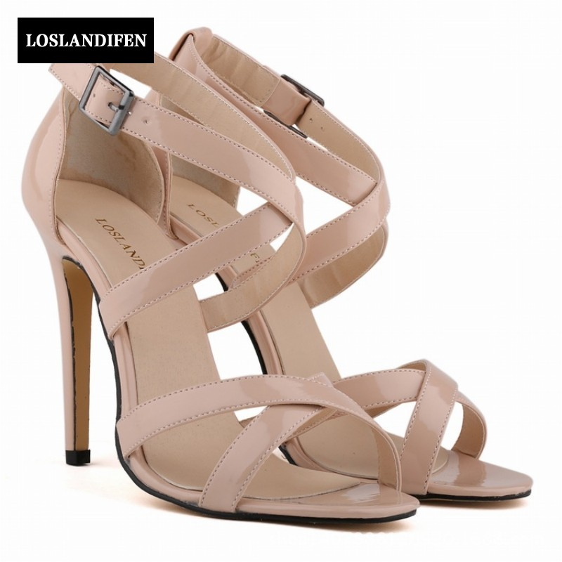 Summer Korean Elgant Sweet Sexy High Thin Heels Sandals Candy Color Patent Leather Wedding Shoes Woman Peep Toe Footwear 2017 new summer patent leather women shoes pointed toe high heels sandals woman wedding shoes sexy thin heels womens heels pumps