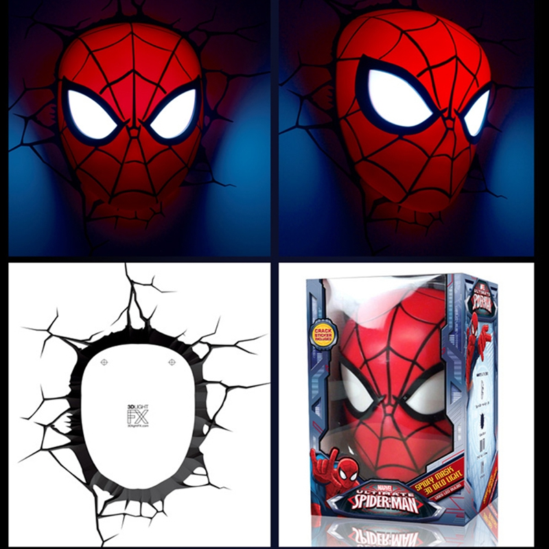 amazing toys Amazing Baby Room light Hot Toys LED Spiderman Shape 3D Poster Wall Lamps Bedroom Wall Decor Night light
