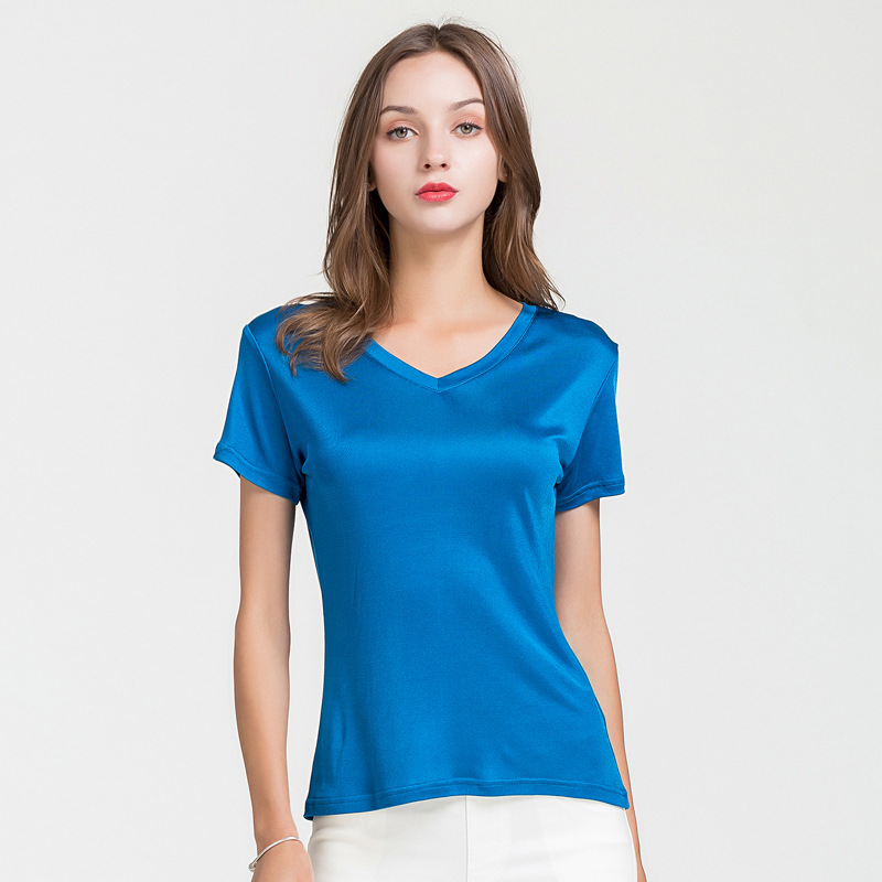 100% Real Silk Women's T-Shirts V Collar Short Sleeve Ladies Wild Candy Color Female Basic Model Women Tee Shirt Tops 1