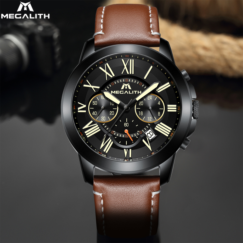 MEGALITH Watches For Men Top Brand Luxury Waterproof Sport Chronograph Fashion Leather Strap Quartz Men Watch Relogio Masculino