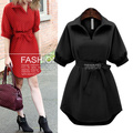 Spring women dress vestidos Irregular office maxi Half Sleeve Black Red Belted Fashion party dresses robe femme Plus Size 5XL