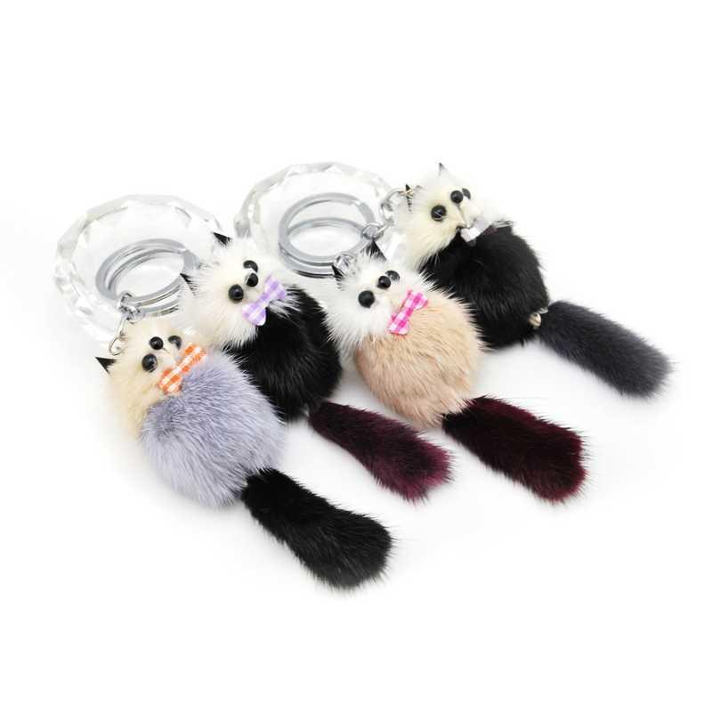 Nova marca Bonito Pompom Fofo Chaveiro Raccoon Genuine Mink Pele De Urso Pom Pom Boneca Charme Saco Chave Do Carro Chaveiro Anel Titular presente