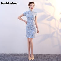 2019 new traditional chinese qipao dress sexy short sexy chinese cheongsam modern korean cheongsam design cotton linen dress