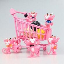 6 unids/set Pink Panther figuras de acción de juguete lindo dibujos animados mini PVC animales encantadores modelo jardín Oficina Decoración colección regalo niñas