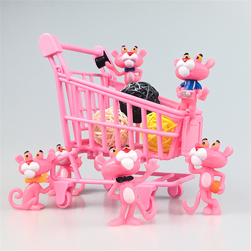 6pcs/set Pink Panther Action Figure Toys Cute Cartoon Mini PVC Lovely Animals Model Garden Office Decor Collection Girls Gift