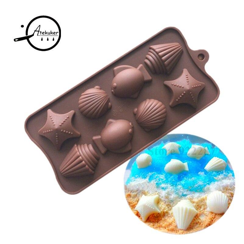 08dada7f5 Atekuker concha de mar forma de pescado molde de silicona para el caramelo  Chocolate de silicona forma de cubo de hielo fabricante de herramientas de  ...