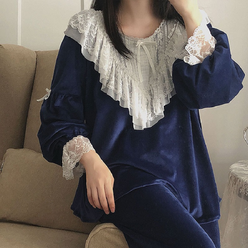 High Quality Thick Flannel Solid Women s Pajamas Sets Autumn Winter Vintage Sweet Female Pyjamas Long