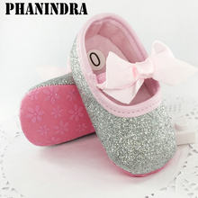 New born baby shoes First Walker Girls Toddler Cotton Sequin with butterfly-knot Infant Soft Sole Crib Shoes baby moccasin Shoes(Chile)