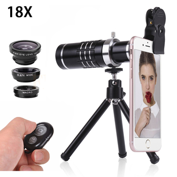 Mobile phone Lenses Kit 18X Optical Lentes Telephoto Zoom lens Telescope Microscope Fisheye Wide Angle Macro lens For Smartphone