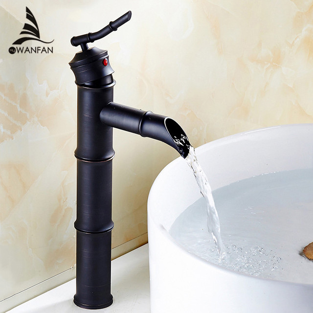 Basin Faucets Black Brass Bamboo High Arch Bathroom Sink Waterfall Faucet 1  Lever Oil Rubbed Bronze