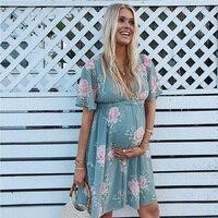 New Maternity Dress Women Ladies Plus Size Clothes Pregnant Dresses Casual Floral Print Dress Soft Loose Sundress Blue White XXL