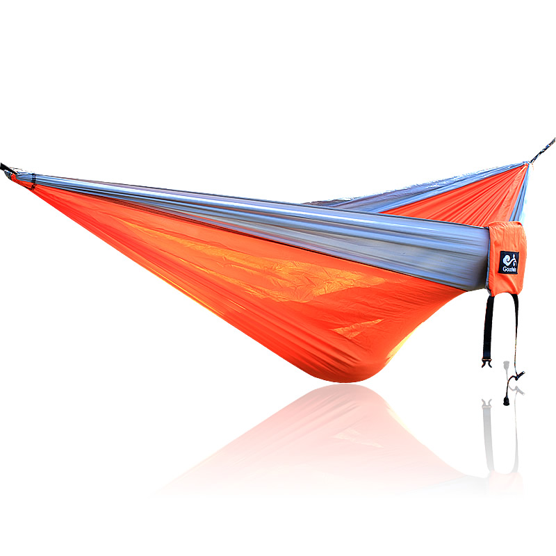 Gray Orange Gray 210T Nylon Hammock 300*200cm Big Size Outdoor Furniture