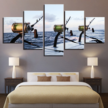 HD Printed 5 Pieces Canvas Stick Fishing In The Sea Painting Wall Art Photos Living Room Modular Paintings
