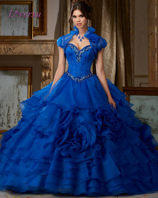 4a1b336640 Loverxu Sweetheart Blue Flowers Ruffles Ball Gown Quinceanera Gown 2016  Beaded Organza Debutante Dress For 15