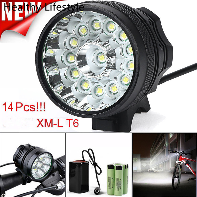цены 34000LM 14 XM-L T6 LED 6 x 18650 Bicycle Cycling Light Waterproof Lamp Outdoor Bike Bicycle Light Accessories Jan 20