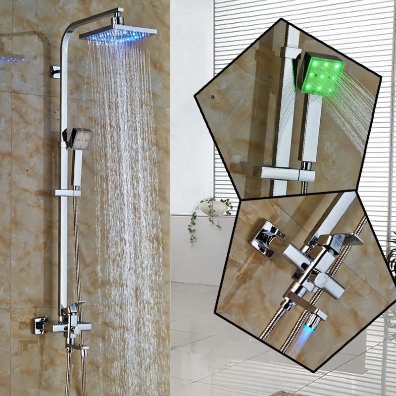 Modern Chrome 8 LED Light Rain Shower and Tub Faucet Wall Mounted Color Changing Totate Tub