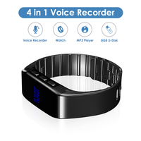 8GB Wrist Watch Mini Voice Recorder Gravador de Audio Voice Activated Recording Bracelet Wearable Record MP3 Player Reloj Espia