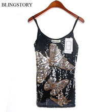 European Brand High Quality sequined Paillette Butterfly summer women tops  blusas y camisas mujer sexy black Camis Clubwear d457dba01765