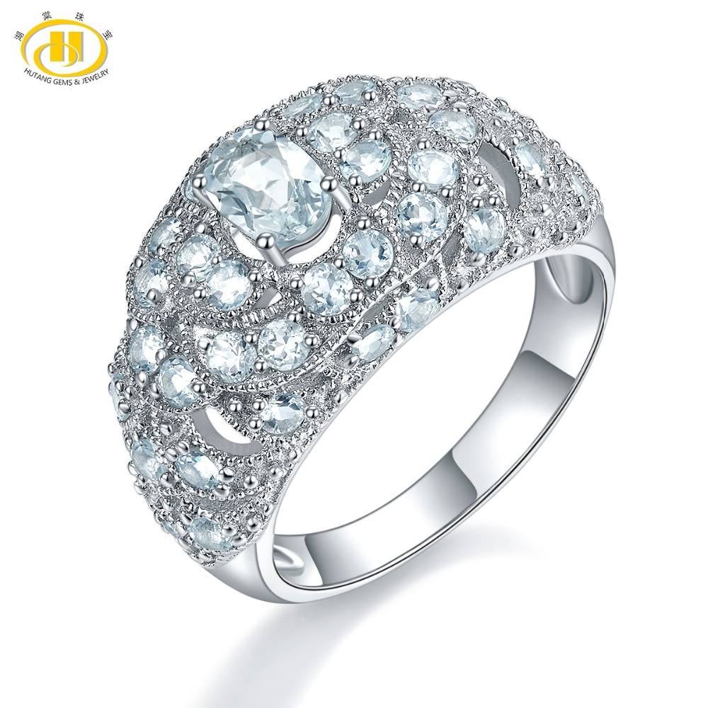 Hutang Silver Wedding Ring Natural Gemstone Aquamarine Solid 925 Sterling Fine Fashion Stone Wedding Jewelry For
