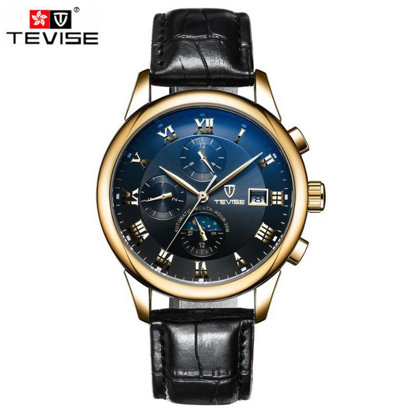 Luxury Tevise Men's Roman Numberals Day/Month Moonphase Auto Mechanical Watches Wristwatch Gift Box Free Ship original tevise famous men s watches brand luxury men s 6 hands auto mechanical wristwatch gift box free ship