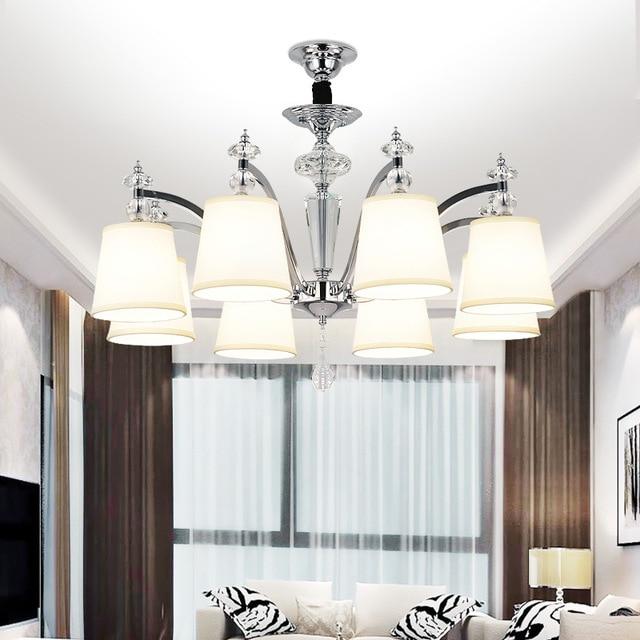 Lustre moderno cristal LED lámpara Iluminación cromo metal comedor ...