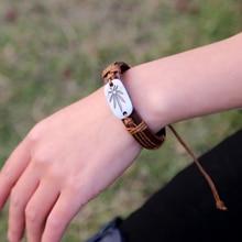 creative maple leaf punk bracelet braided leather bracelet for men and women cuff bracelet for sudent adjustable wristband