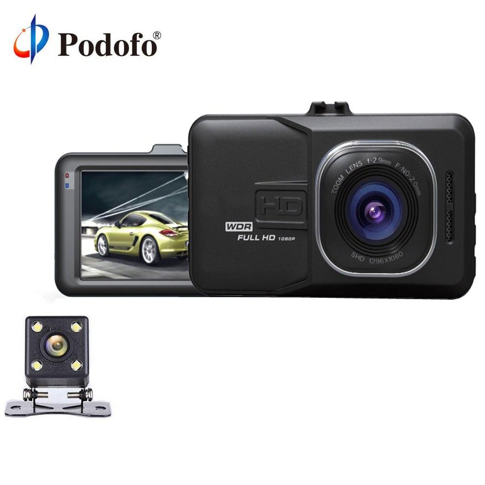 Podofo двойной объектив Автомобильный dvr Cam Dash Cam 1080P видео в Full HD регистратор с резервной камерой заднего вида g-сенсор WDR DVRs