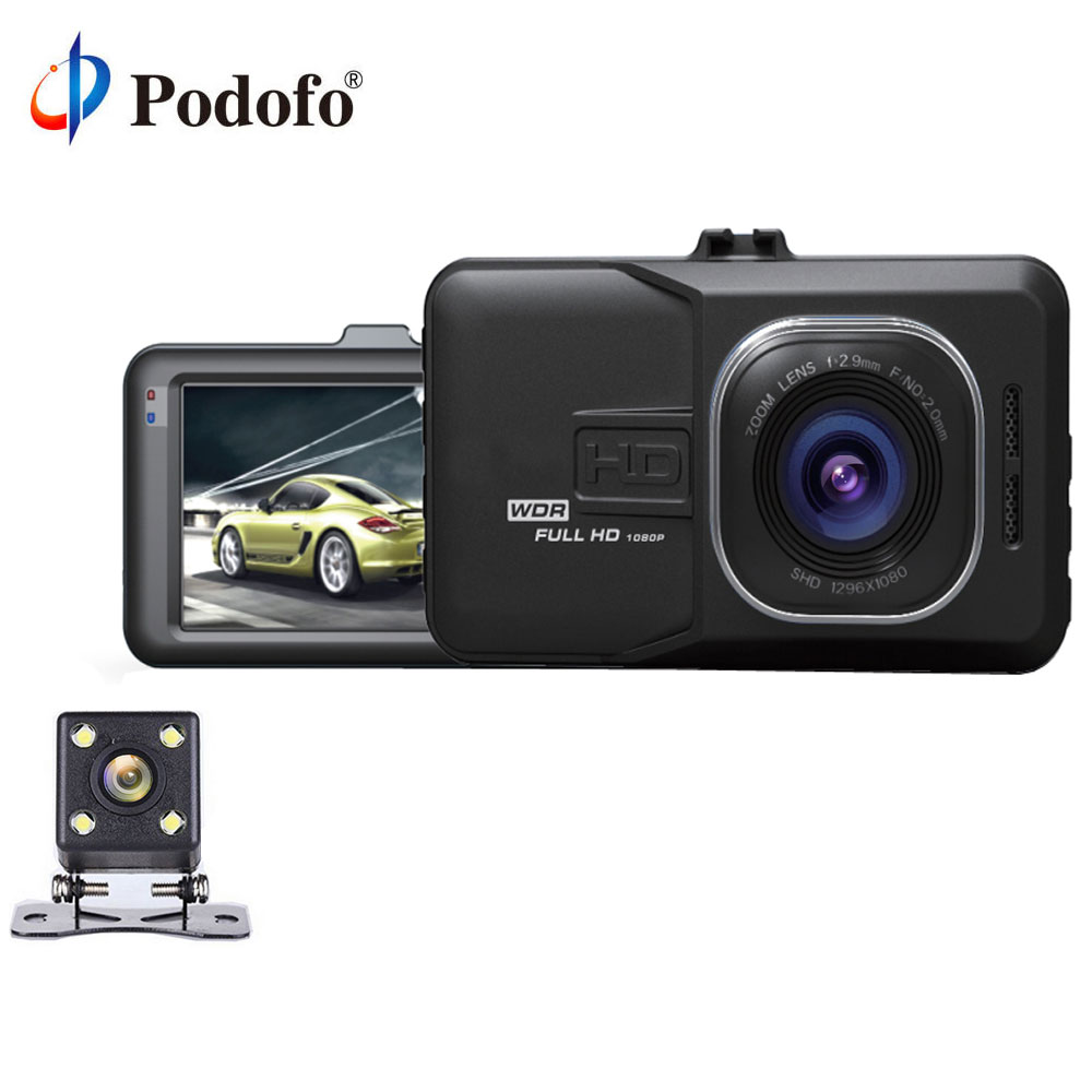 Podofo Dual Lens Car DVR Cam Dash Cam 1080P Full HD Video Registrar Recorder With Backup Rearview Camera G-Sensor WDR DVRs wifi dual lens 5 hd 1080p car dvr video recorder g sensor rearview mirror dash camera auto registrar rear view dvrs dash cam