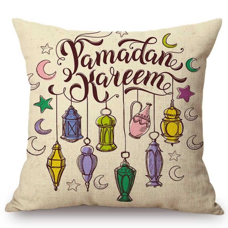 Islamic Muslim Lantern Hand Drawn Sofa Throw Pillow Case Middle East Arabic Moon Star Eid Ramadan Decoration Cushion Cover Case