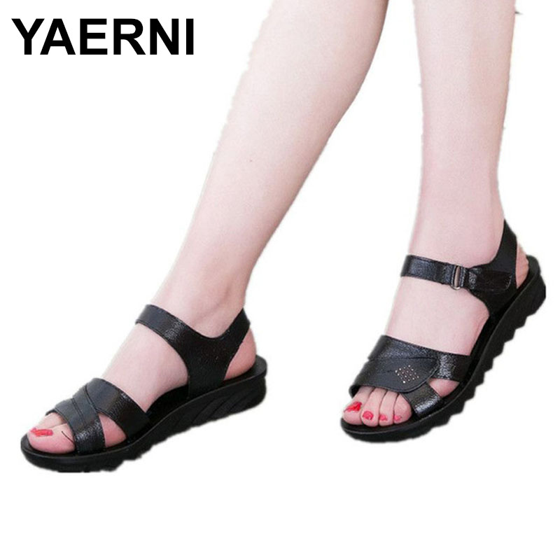 YAERNI 2018 Summer new mom fashion sandals soft bottom comfortable middle-aged with sandals large size black woman sandals 40 41 timetang summer new middle aged soft leather mother sandals soft bottom elderly large size flat woman non slip sandals c212