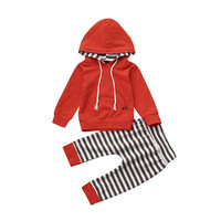 2017 Fashion 2Pcs Set Newborn Infant Baby Girl Boys Orange Striped Hooded Tops Pants Outfits Clothes
