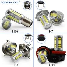 цена на MODERN CAR 5630 33SMD 2pcs T20 S25 T25 LED Auto Car Fog Lamp Bulb H7 H11 9005 9006 H4 Fog Lights White Parking Turn Single Light