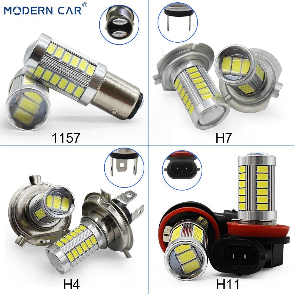 MODERNE AUTO 5630 33SMD 2 stücke T20 S25 T25 LED Auto Auto Nebel Lampe Birne H7 H11 9005 9006 H4 nebel Lichter Weiß Parkplatz Drehen Einzigen Licht