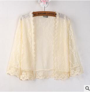 Лето кардиган женщин предотвратить греться прозрачный платок мода выдалбливают шаль короткими рукавами кружева джокер тонкий слой Женщина