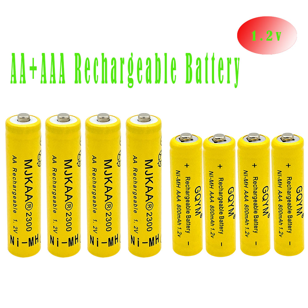 gqym 8pcs 1 2v ni mh aa aaa rechargeable battery 2a 2300mah 3a 800mah neutral rechargeable. Black Bedroom Furniture Sets. Home Design Ideas